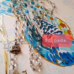 Silpada Silver Long Clear Faceted Necklace